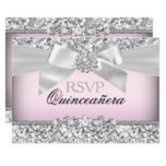 Silver Pink Glitter & Jewel Bow Quinceanera RSVP Card