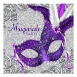Silver Purple and Pink Masquerade Party Card