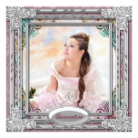 Silver Teal Blue Coral Pink Photo Quinceanera Card