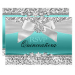 Silver Teal Glitter & Jewel Bow Quinceanera RSVP Card