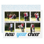 Sky blue, black New Year Cheer six photo collage Card