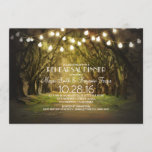String Lights Trees Path Rustic Rehearsal Dinner Invitation