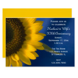 Sunflower on Blue Wedding Anniversary Party Invite
