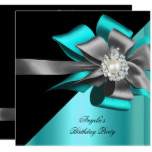 Teal Black Grey Silver Bow Pearl Birthday Party Card