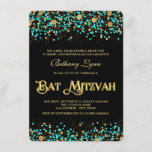 Teal Blue and Gold Bat Mitzvah Invitation