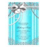 Teal Blue and Gray Pearl First Communion Invitation