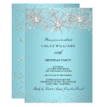 Teal Blue Crystal Pearl Snowflake Silver Winter Invitation