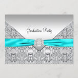 Teal Blue Graduation Party Invitation