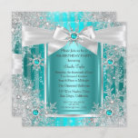 Teal Blue Winter Wonderland Snowflake Silver Bow Invitation
