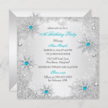 Teal Snowflakes Winter Wonderland Birthday Party Invitation