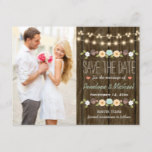 Teal String of Lights Fall Rustic Save the Date Announcement Postcard