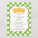 Triplets Chick Baby Shower Invitation Green