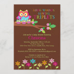 Triplets Owl Baby Shower Invitations
