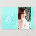 Turquoise Color Block Graduation Announcement