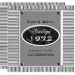 Vintage 40th Silver Look Image Birthday Party Invitation