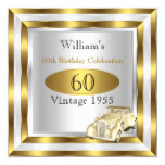 Vintage Car Men's 60th Birthday Party Gold White 2 Invitation