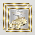 Vintage Car Men's 60th Birthday Party Gold White Invitation