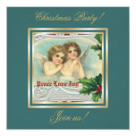 Vintage Christmas angels & holy berry invitation