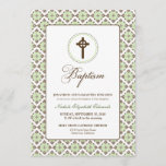 Vintage Grace Baptism 5x7 Invitation (brown/sage)