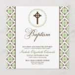 Vintage Grace Baptism Invitation (chocolate/green)