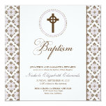 Vintage Grace Baptism Invitation (chocolate/lilac)