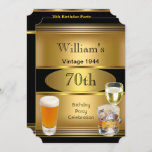 Vintage Mens 70th Birthday Party Gold Beer Invitation