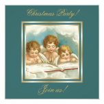 Vintage three cute praying angels invitation