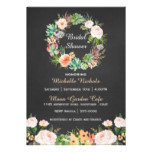 Watercolor Wreath on Chalkboard Bridal Shower Card