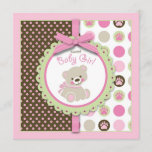 Welcome Bear Girl Invitation Square