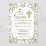 White and Gold First Communion Invitations