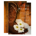 White Daisies Cowboy Boots Country Western Wedding Card