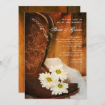 White Daisies Cowboy Boots Country Western Wedding Invitation