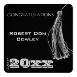 White Graduation Tassel on Black Announcement