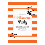 Witch and bats stripes orange Halloween party Invitation