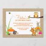 Woodland Animals First Birthday Invitations