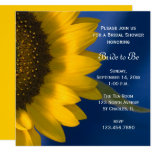 Yellow Sunflower on Blue Bridal Shower Invitation